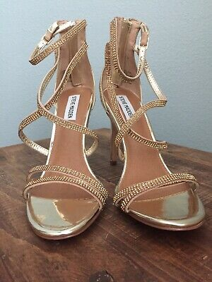 f22f8aee05d STEVE MADDEN GOLD metallic strappy high heel Shoes Sandal Size 6.5 ...