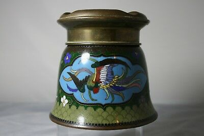"""A Japanese Cloisonne """"no Fume"""" Pot With Phoenix On Green Ground Circa 1920"""