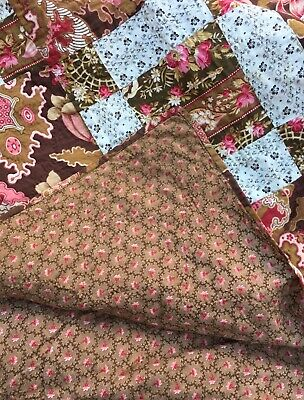 Gorgeous Rare Brown Chintz 1800's Antique Quilt Early Calico Whole Back Aafa