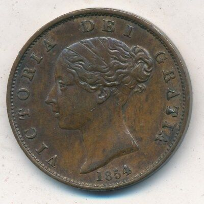 1854 Great Britain 1/2 Penny Half Penny-Gently Circulated Coin-Nice! Ships Free!