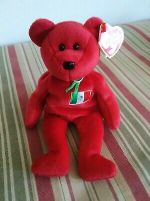TY Beanie Baby Red Bear RARE Osito 1999 Retired With Tag Errors PE Pellets
