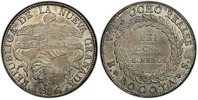 Colombia 8 Reales 1846-RS PCGS AU53, beautiful Patina