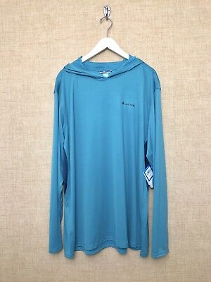 Mens Columbia Cool Freezer Coil Hoodie Top Long Sleeve Blue Size 3XL Vented