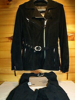 Women's- Harley Davidson Suede Coat and Chaps with Fringe Size XS
