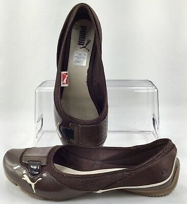 894013685 Puma Saba Ballet Flats Womens Size 9.5 Brown Patent Mesh Athletic Slip On  Shoes
