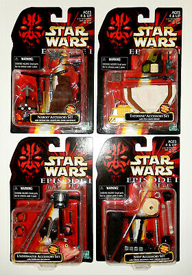 STAR WARS EPISODE 1 - LOT of 4 ACCESSORY SETS - Naboo Tatooine Sith Underwater