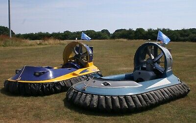 Two British Hovercraft Company craft and double deck trailer