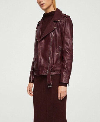 Mango Real Sheepskin Leather Biker Jacket Dark Cherry Red Uk S Small