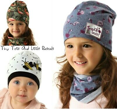Girls Toddlers Spring Autumn Cotton Elastic Beanie Hat Cap Size 6 mths - 8 years