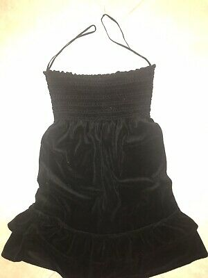 b6f247865f Juicy Couture Strapless Black Terry Cloth Smocked Swim Cover Up Small