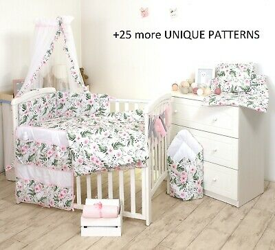 3-5-7-9 pcs FLOWERS BEDDING SET -TO FIT COT or COT BED -BUMPER+COVERS+DUVET+more