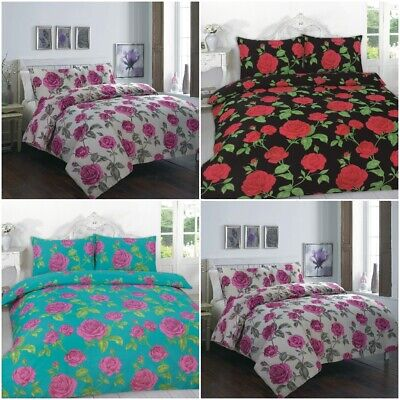 Meadow Rose Flower Printed Luxurious Duvet Cover Sets Reversible Bedding Sets NZ