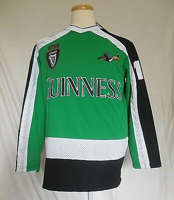 Guinness Mens Hockey Jersey Medium Green White Black Long Sleeves New  W Defects f7cadc1f51e