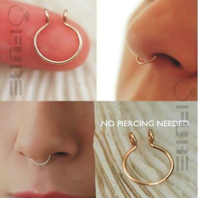 1x Dainty Fake/faux Septum Ring Surgical Steel Silver,Yellow or Rose Gold Filled