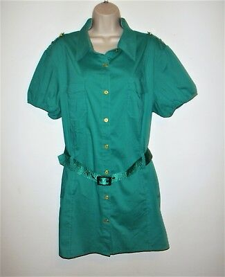 Ashley Srewart Women's Size 16W Button Down Tunic Top Blouse Green Teal Cotton