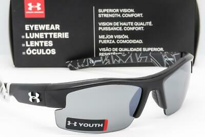 98eb004deae NEW UNDER ARMOUR NITRO L SUNGLASSES UA Youth Fit Satin Black   Grey Mirror  lens