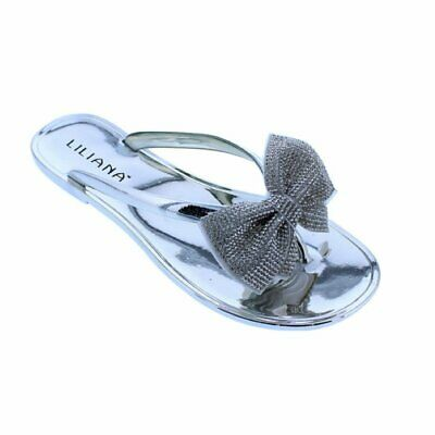 a1bf526eac700d WOMEN S RHINESTONE BOW Jelly Thong Chic Flat Sandals Liliana Jubilee ...