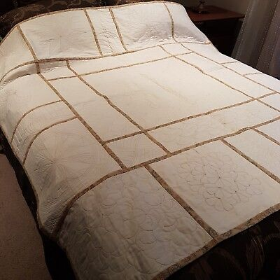 NEW Machine Rulers work cream & brown Quilt rrp $650 HEIRLOOM Reduced Beautiful