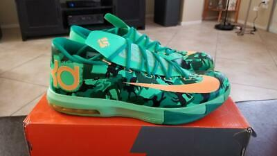 competitive price cc5ae a40e5 NIKE KD VI 6 EASTER GREEN MANGO 599424 303 SZ 12 durant warriors eybl pearl
