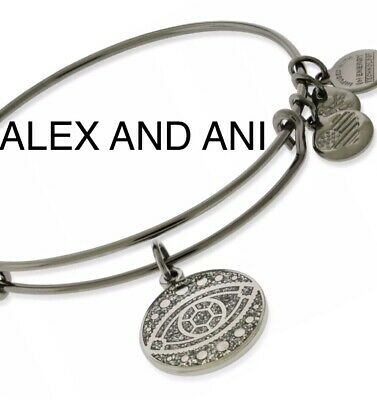 $9 OFF — ALEX AND ANI Color Infusion EVIL EYE Charm Bangle Midnight Silver NWTBC
