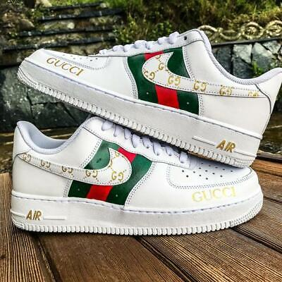size 40 75619 48efe Nike Air Force 1 х Gucci Personalizzate a mano Sneakers Custom Shoes Uomo  Donna