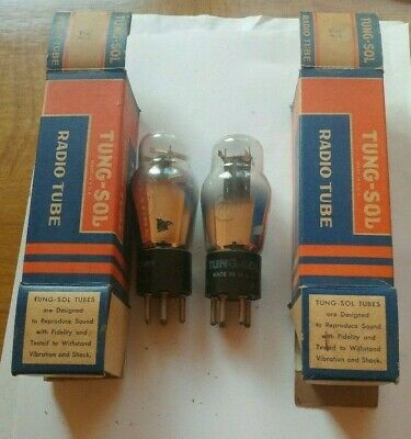 Pair of Vtg Tung-Sol Radio Tubes # 27 Untested Boxed NOS NEW Made in USA