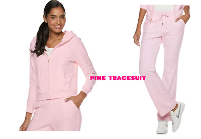 NWT Juicy Couture Tracksuit  SOFT Velour Jacket Bootcut pants Pink Women Large