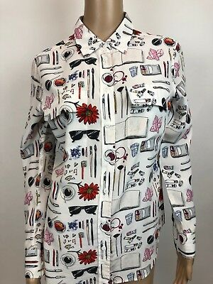 3aa06411649f92 EQUIPMENT SILK BUTTON Down Blouse White With Art Drawing Print S ...