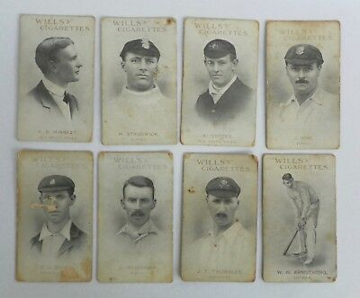 8 x 1911 Wills Cigarettes Cricketers Cards
