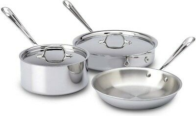 All-Clad Stainless Steel Tri-Ply Bonded Dishwasher Safe Cookware Set, 5-Piece