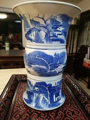 Estate Old House Chinese Antique 20th Blue white Vase Marked Asian China