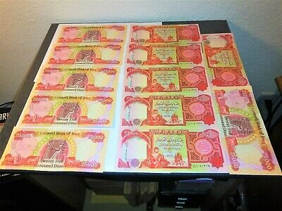 LOT OF 12 NEW 25000 IRAQI DINAR CURRENCY NOTES CENTRAL BANK of IRAQ(CBI).CRISP.