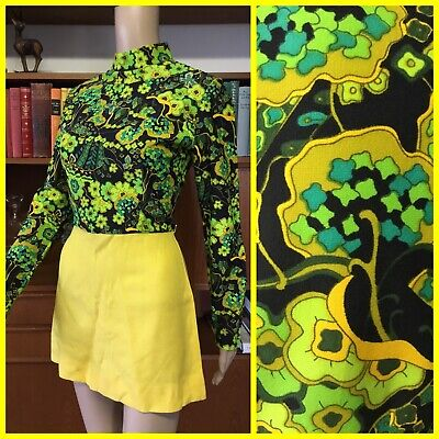 VINTAGE 60's Groovy MOD Mini SCOOTER DRESS Yellow & Green M