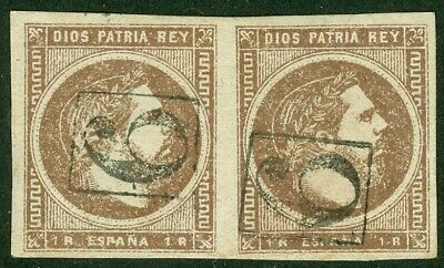 EDW1949SELL : SPAIN 1875 Scott #X7 pair VF, Used. Cancel is suspect. Cat $165.00