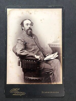 Victorian Photo Cabinet Card: Sarony: Scarborough: Gent Holding Newspaper
