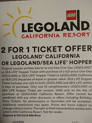 2 for 1 ticket  - Coupon for 1 day Legoland California or Legoland/Sea Life