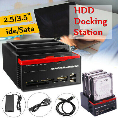 "2.5 3.5"" External Dual SATA IDE HDD Hard Drive Docking Clone Card Reader USB 3.0"