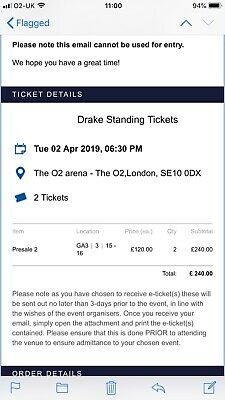Drake 2x Standing tickets, London 02, Tuesday 02 April