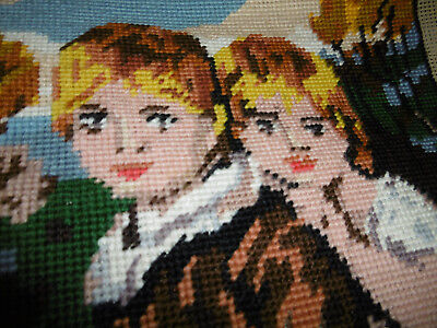 Vintage needlepoint tapestry picture part completed no wools