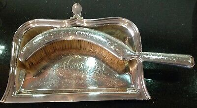 Large Antique Christofle Silver Plated Crumb Tray And Brush, Fabulous Set !