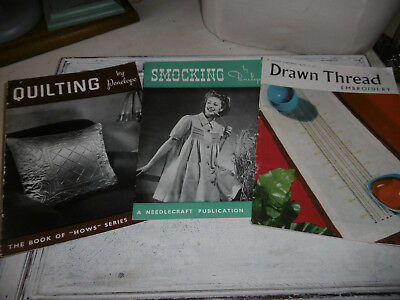 Vintage sewing booklets smocking quilting embroidery x 3 good condition