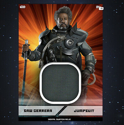 Star Wars Card Trader Saw Gerrera marathon Swatch Relic orange digital card!!