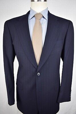 Austin Reed Navy Blue Pinstripe Worsted Wool Two Button Two Piece Suit Size: 40R