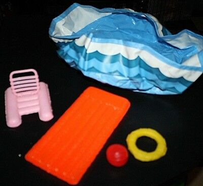 Vtg Barbie Pool Lot 1980s Swimming Pool Rafts Ball Summer Accessories  P=