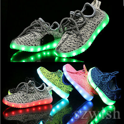 Kids Boys Girls LED USB Charge Light Up Knitted Trainers Luminous Sneakers Shoes