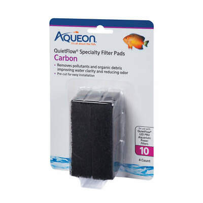 Aqueon QuietFlow 10 Specialty Filter Pads Carbon 4pk   Free Shipping