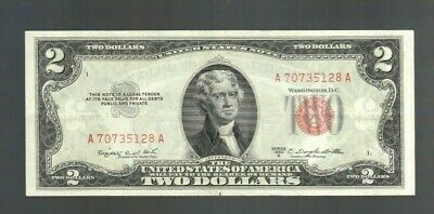 $2 1953 Two Dollar Red Seal Small Size USA Legal Tender Note Bill Currency