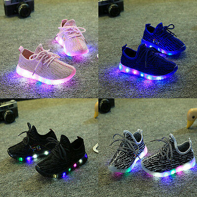 Boys Girls Flash LED Child Toddler Kids Light Up Trainers Lace Up Luminous Shoes