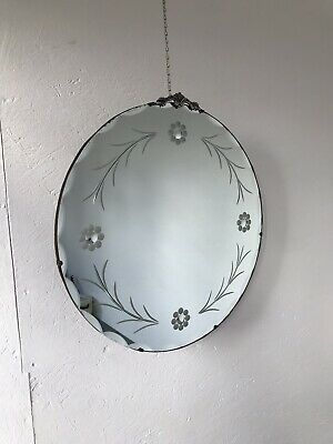 Vintage Mirror art deco Etched mirror with Crest Floating Mirror