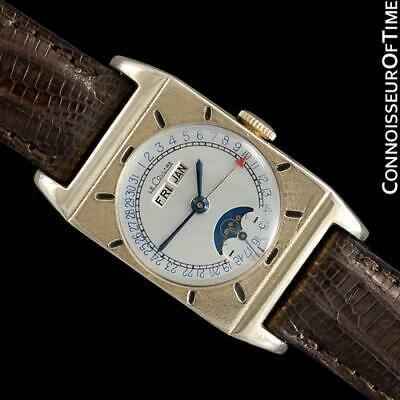 1949 LECOULTRE Vintage Mens Triple Date Moon Phase Watch - 10K Gold Filled
